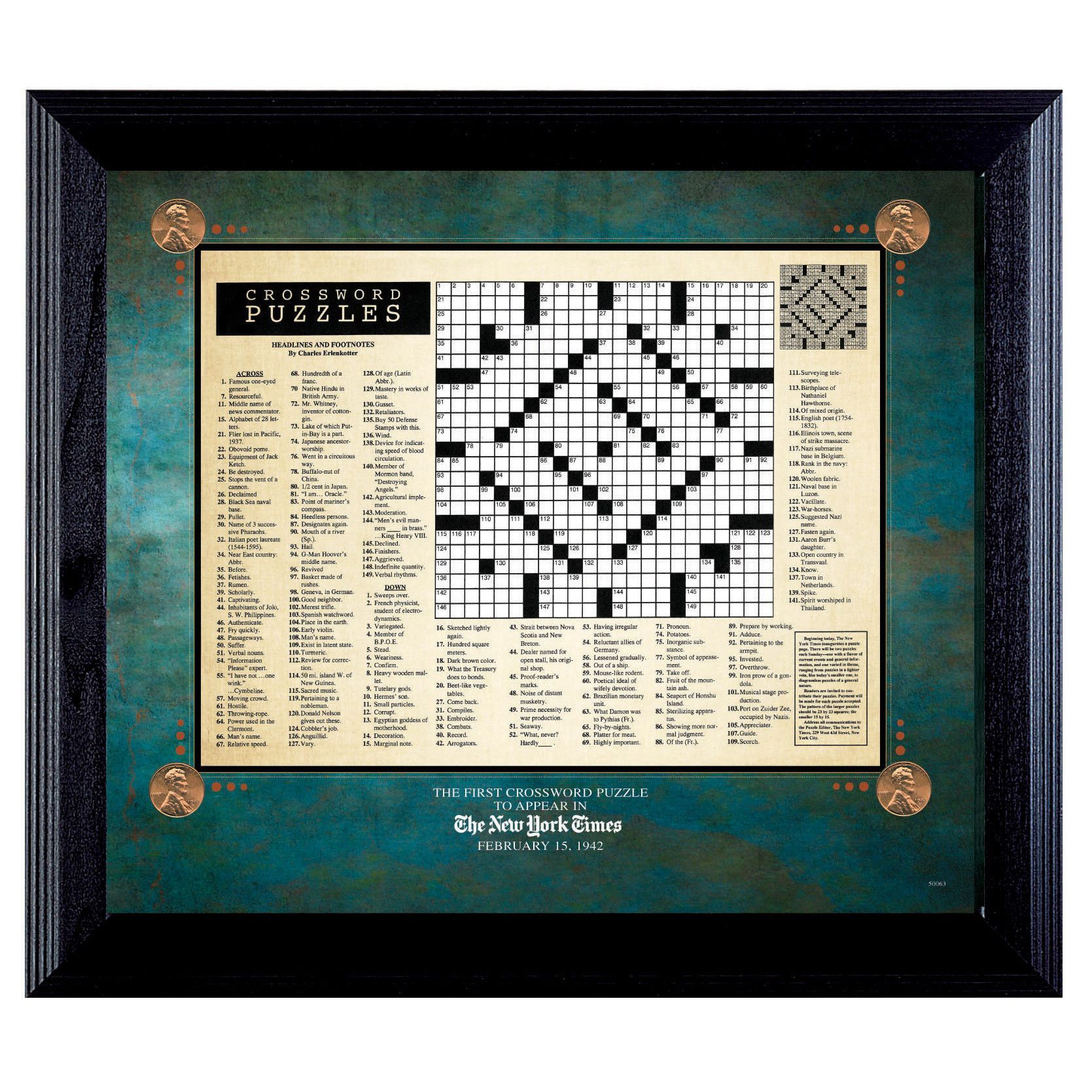 New York Times First Crossword Puzzle Framed Textual Art | Crossword ...