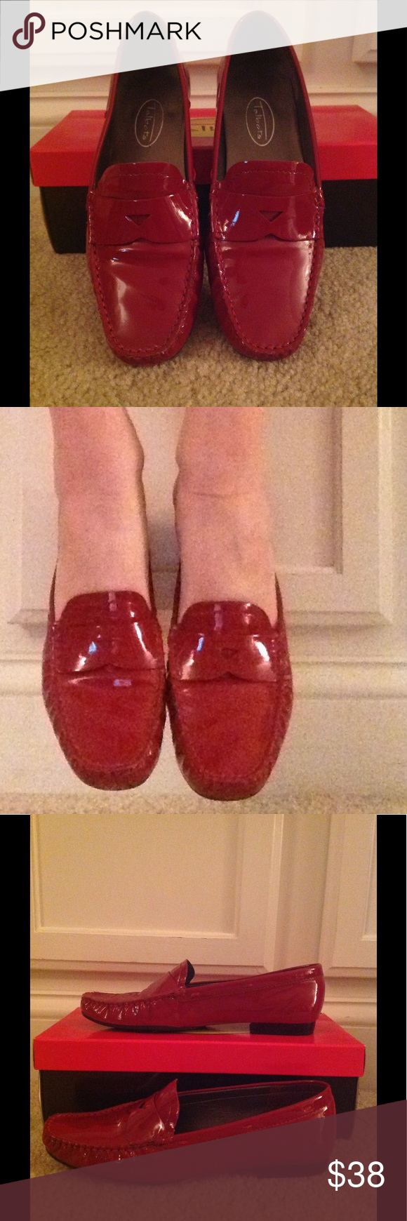Talbots Red Patent Penny Loafers Talbots red patent leather penny loafers. EUC, made in Brazil Talbots Shoes Flats & Loafers