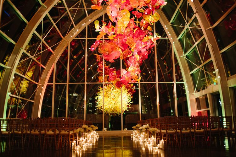 Chihuly Glasshouse Wedding Ceremony Annie Mcelwain Photography