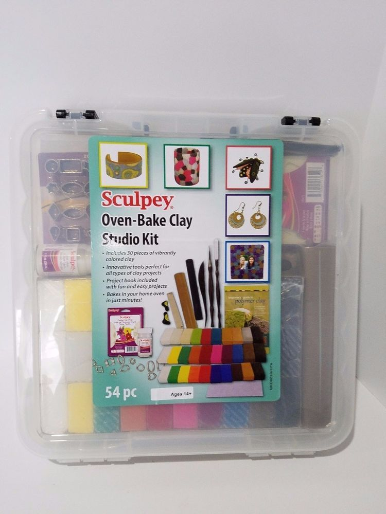 Sculpey Oven Bake Clay Studio Kit Clay Tools Glaze Molds Mat 54 Pc