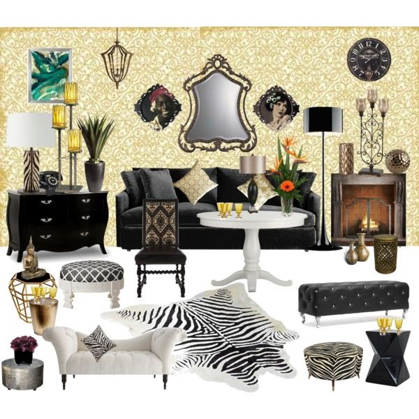 Elegant Room · Lounge Party In Gold Black White Chic ...