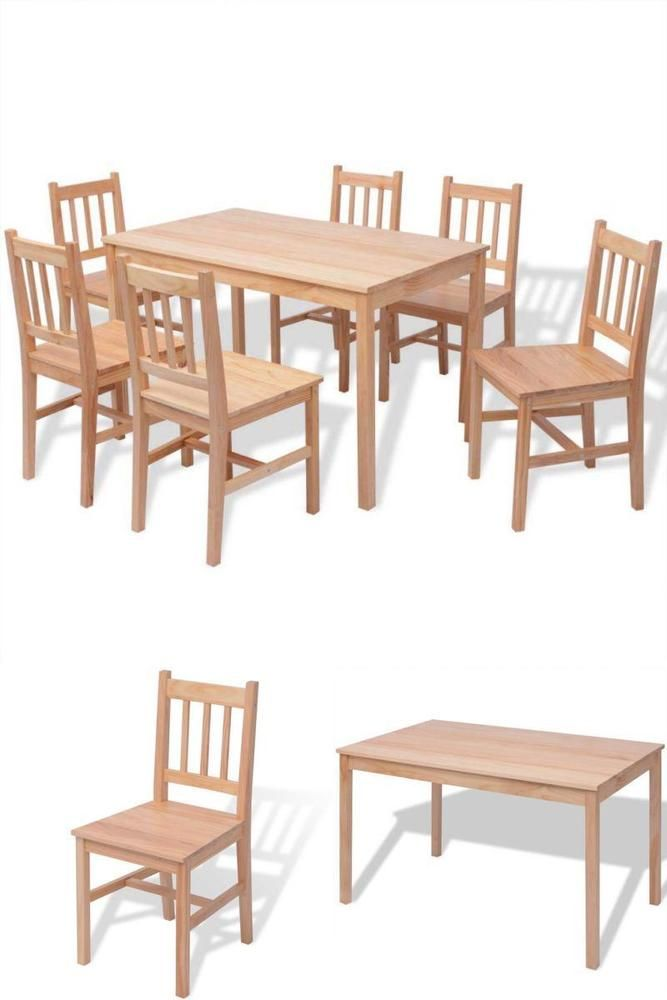 Dining Room Table Set 6 Chairs Seater Pine Wood Kitchen Home