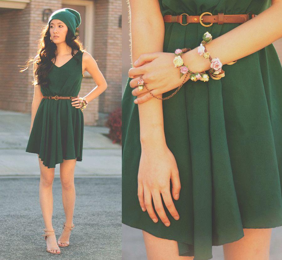 Dark Green Dress Outfit