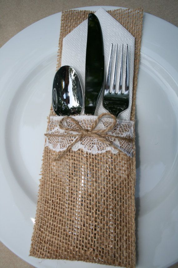 125 Burlap Silverware Holders | Burlap silverware holder ...