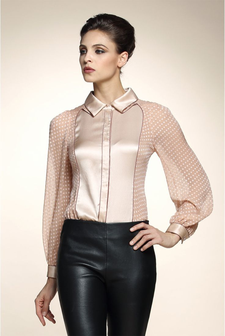 630bc0707a8 Silk blouse with polka dot sheer chiffon sleeves