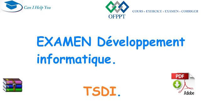 Examens Technicien Specialise En Developpement Informatique Ofppt Cours Exercice Examen Cor Developpement Informatique Informatique Langage De Programmation