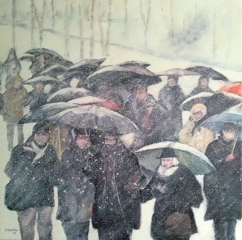 "Artist Tomas Castano, ""Walking in the snow"""