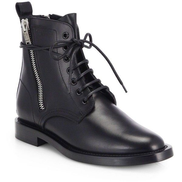 8f25642a26a Saint Laurent Rangers Leather Lace-Up Combat Boots ($605) ❤ liked on  Polyvore featuring shoes, boots, ankle booties, botas, apparel &  accessories, black ...