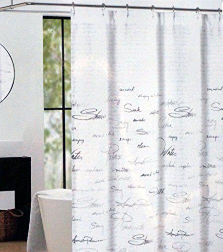 Tahari Fabric Shower Curtain Gray Words Writing On White Shower