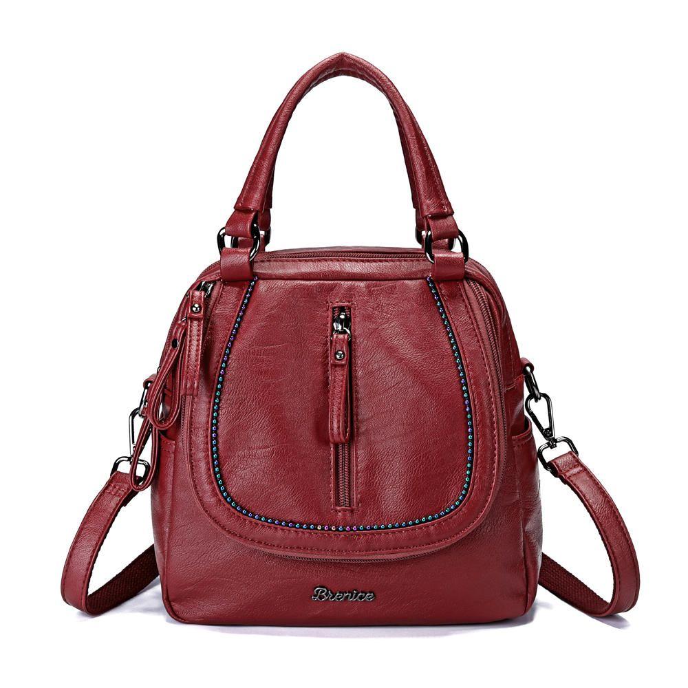 Brenice Women Multifunction Soft Handbag Vintage Bohemian Shoulder  Crossbody Bag Backpack - Banggood Mobile 5844035aadc57