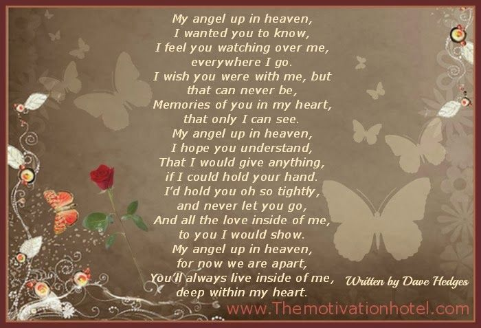 The Motivation Hotel My Angel Up In Heaven Ink Pinterest