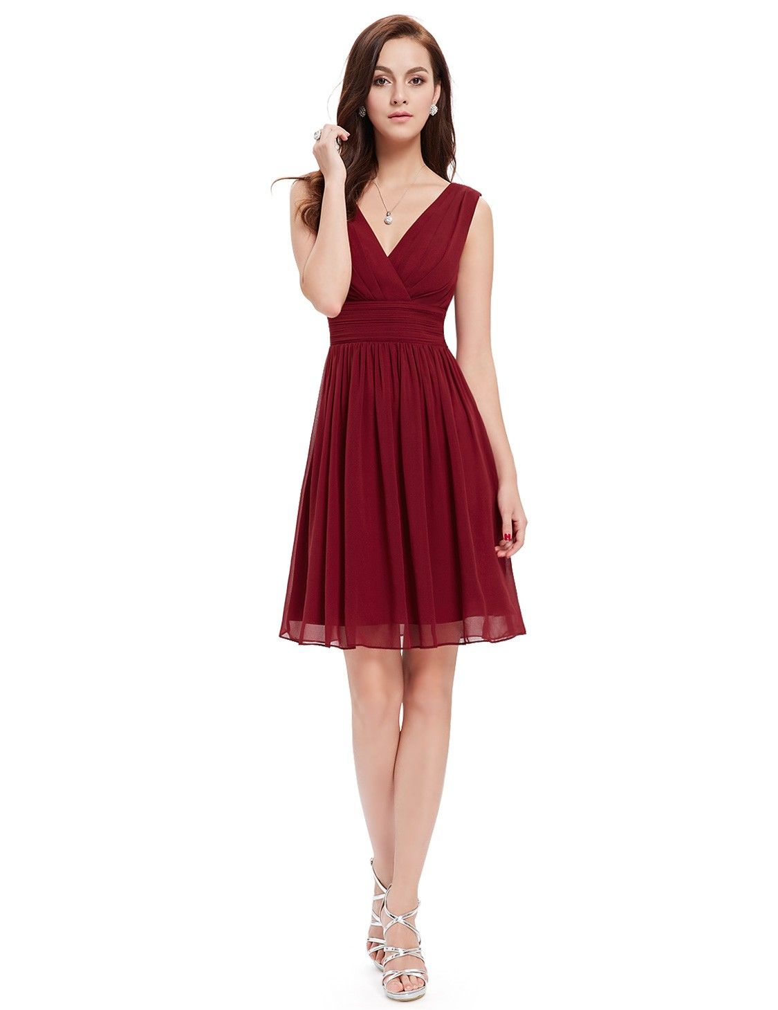 Short sleeveless party dress with vneck short party dresses