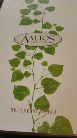 Menu cover, AALTOS Garden Cafe  |  2401 Saskatchewan Ave. W., Portage la Prairie, Manitoba, Cana