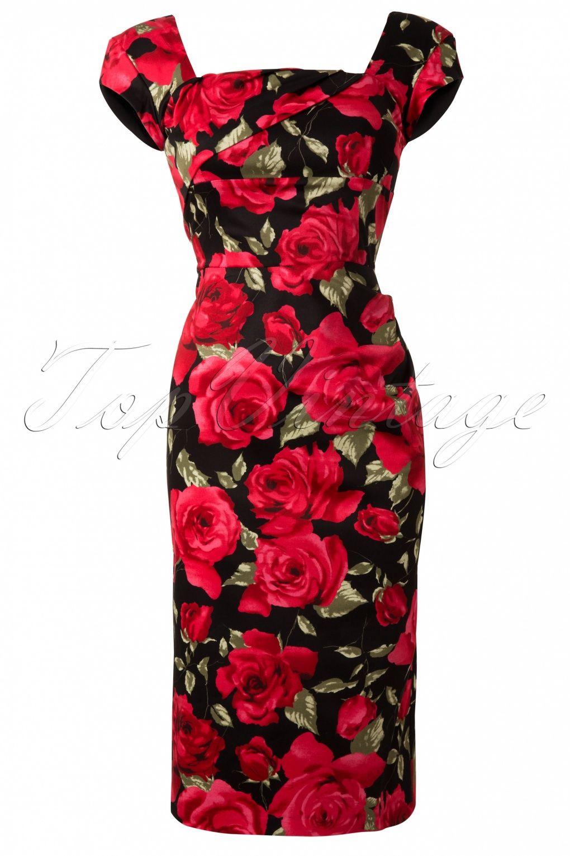 The Pretty Dress Company Cara Sorento Red Rose Dress In Black Vintage Pencil Dress Pretty Dresses Casual Pretty Dresses [ 1530 x 1020 Pixel ]
