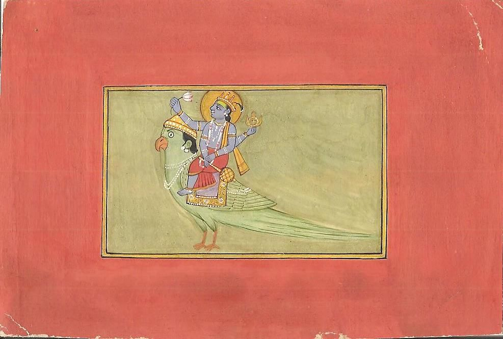 Vishnu Garuda Miniature Painting Handmade Indian Hindu
