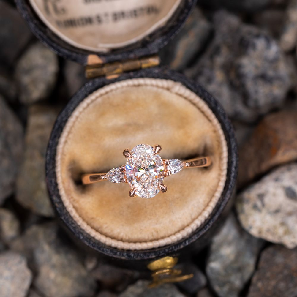 Oval Diamond With Pear Accents Rose Gold Engagement Ring Dream Engagement Rings Beautiful Engagement Rings Oval Diamond Engagement Ring
