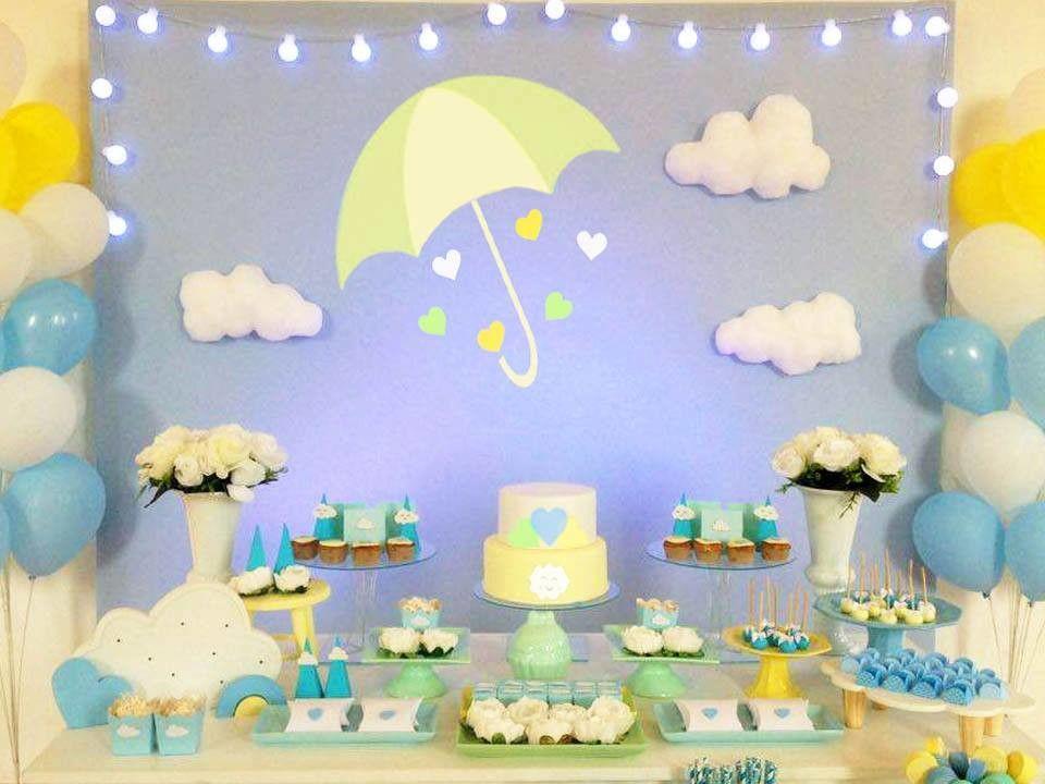 Aluguel Decoraç u00e3o chá de beb u00ea, chá de fralda nuvem Chuva de Amor Benç u00e3o Para proporcionar ao  -> Decoração Chá De Bebê Nuvem