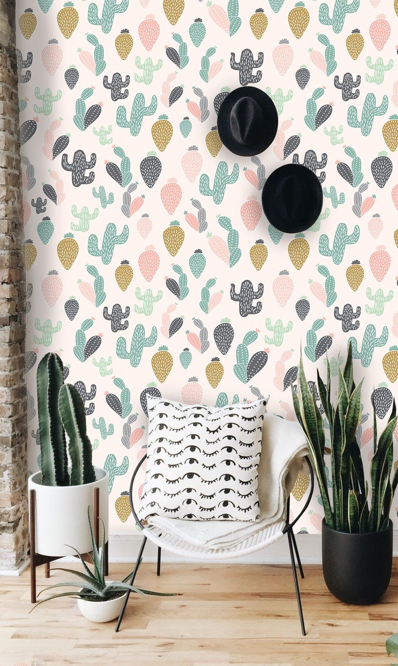 Colorful cactus removable wallpaper white wall mural