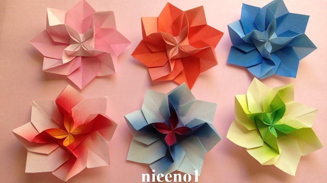 折り紙 花 1枚の折り方3 Origami Flower Tutorial Niceno1 Youtube 折り紙 花 折り紙 折り紙 作り方