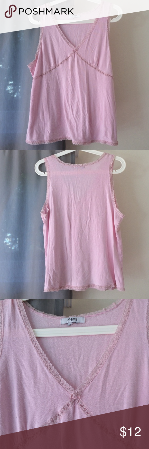 vintage pj top super cute and comfy pink pj top. has pink lace trim and a rose at the bottom of the v-neck. good condition. Alfani Intimates & Sleepwear Pajamas