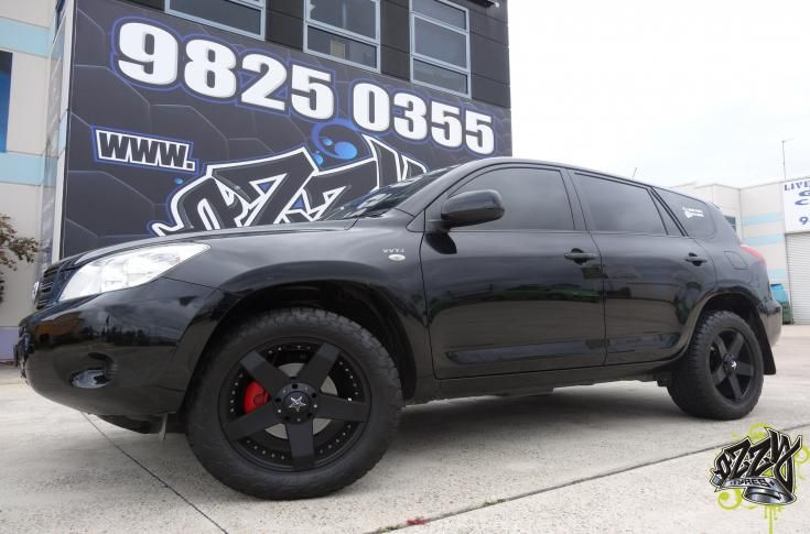 Toyota Rav4 With Kmc Rockstar 775 Matte Black Wheels