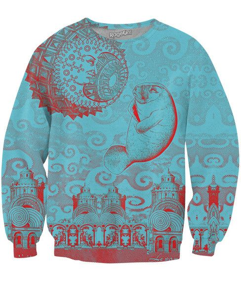 Dive in deep and swim with the manatee's in this sexy sweater. You can get this Moon and Manatee Crewneck Sweatshirt and other Larry Carlson designs at RageOn!