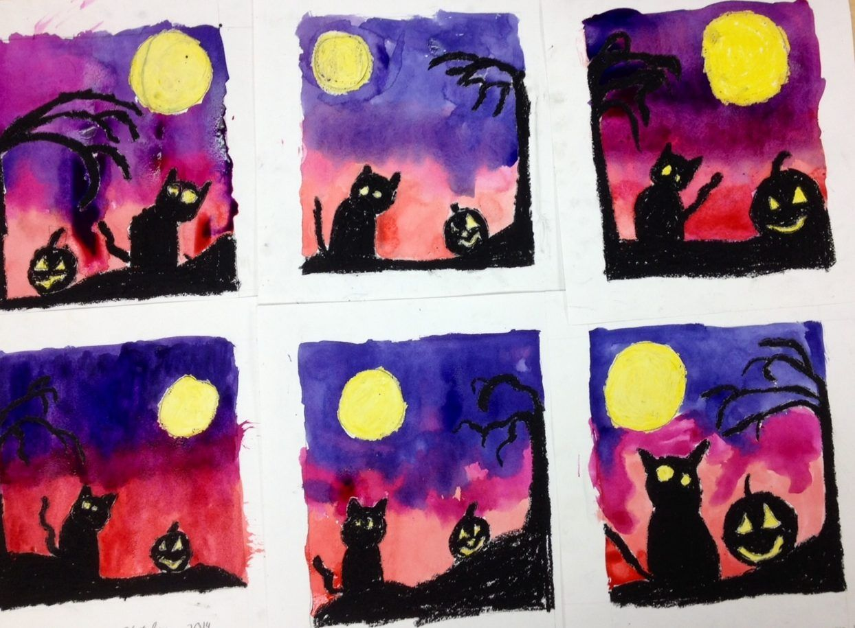 4th Grade Cat And Jack O Lantern Halloween Silhouettes In