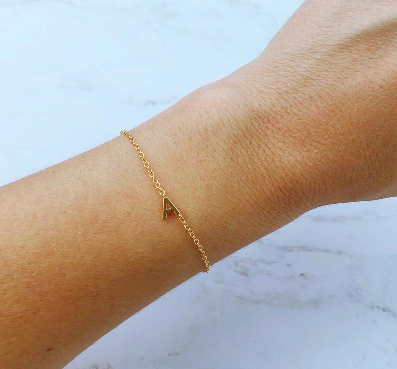 Photo of Dainty bracelet, sideways initial bracelet , bridesmaid gift, gold bracelet, dainty jewelry, letter bracelet, birthday gifts for her