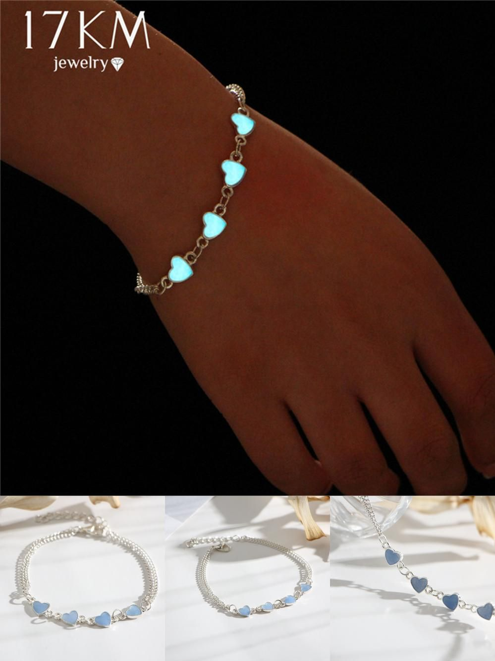 Visit to buy km luminous heart pendant bracelets for women pretty