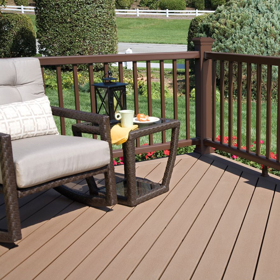 Shop Style Selections Style Selections Natural Brown Groove Composite Deck Board Actual Railings Outdoor Patio Stain House Deck