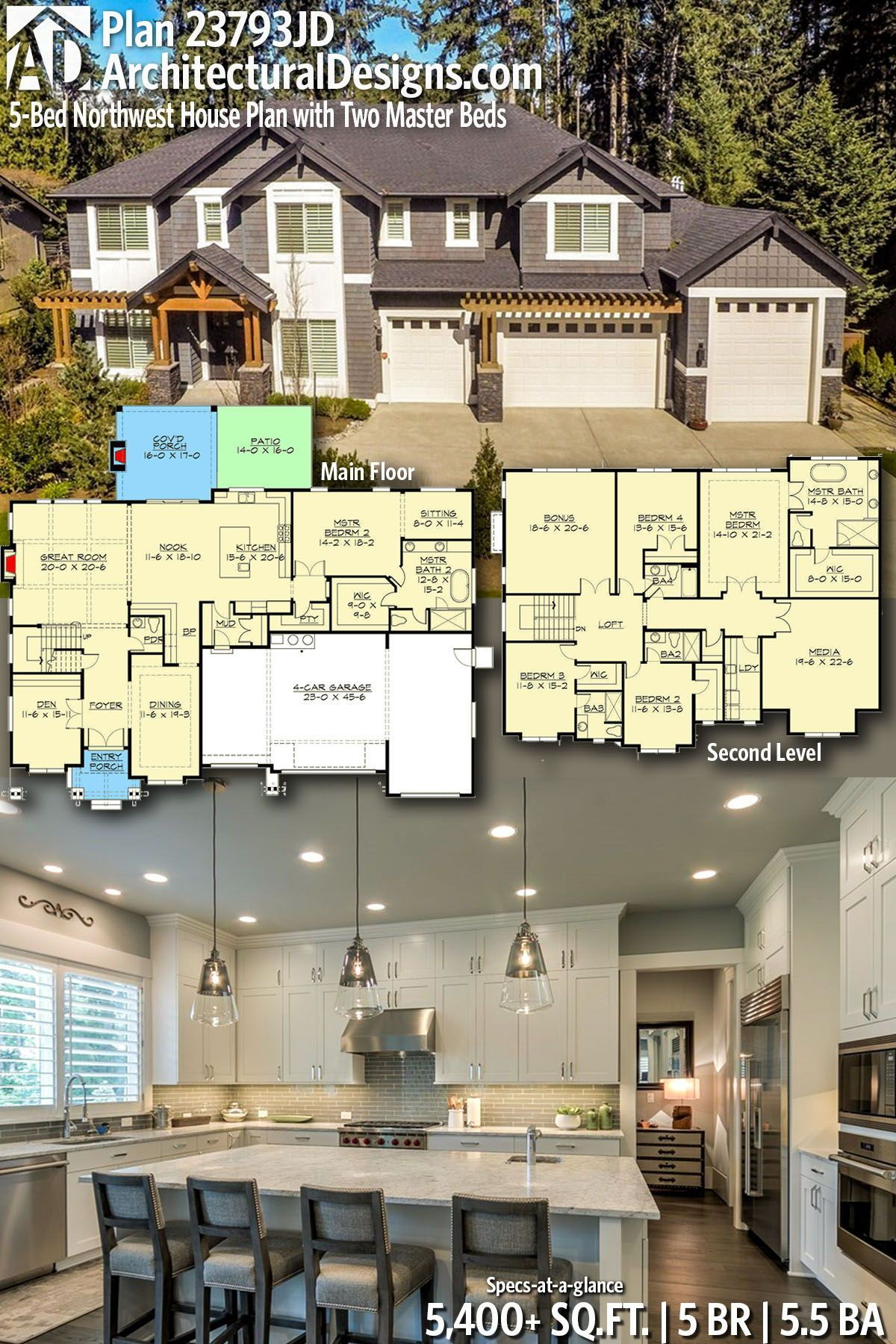 Plan 23793JD 5Bed Northwest House Plan with Two Master