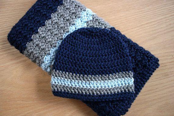 Newborn Baby Boy Crochet Blanket And Hat 19x24 Car Seatstroller