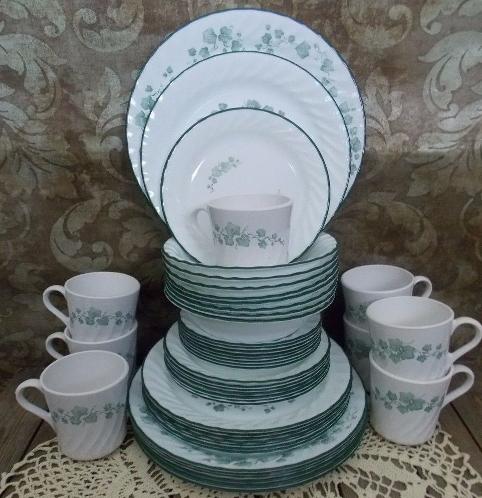Calloway Ivy Corelle Corning Dishes 48 Piece Dinnerware Set Service for 8 & Calloway Ivy Corelle Corning Dishes 48 Piece Dinnerware Set Service ...