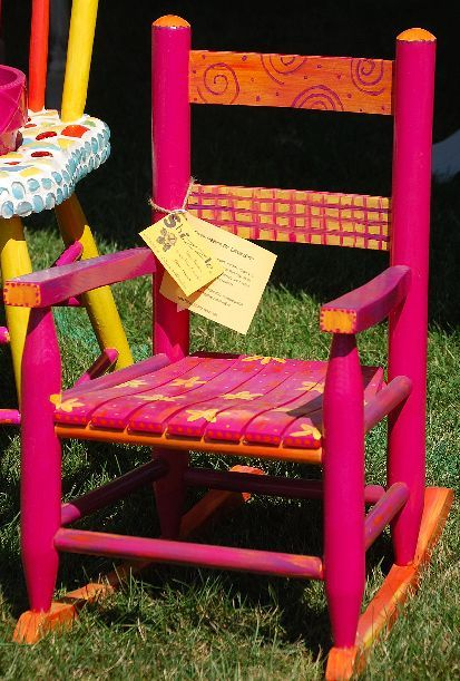 Brightly Colored Child S Rocker Painting Kids Furniture Painted Furniture For Sale Painted Chairs