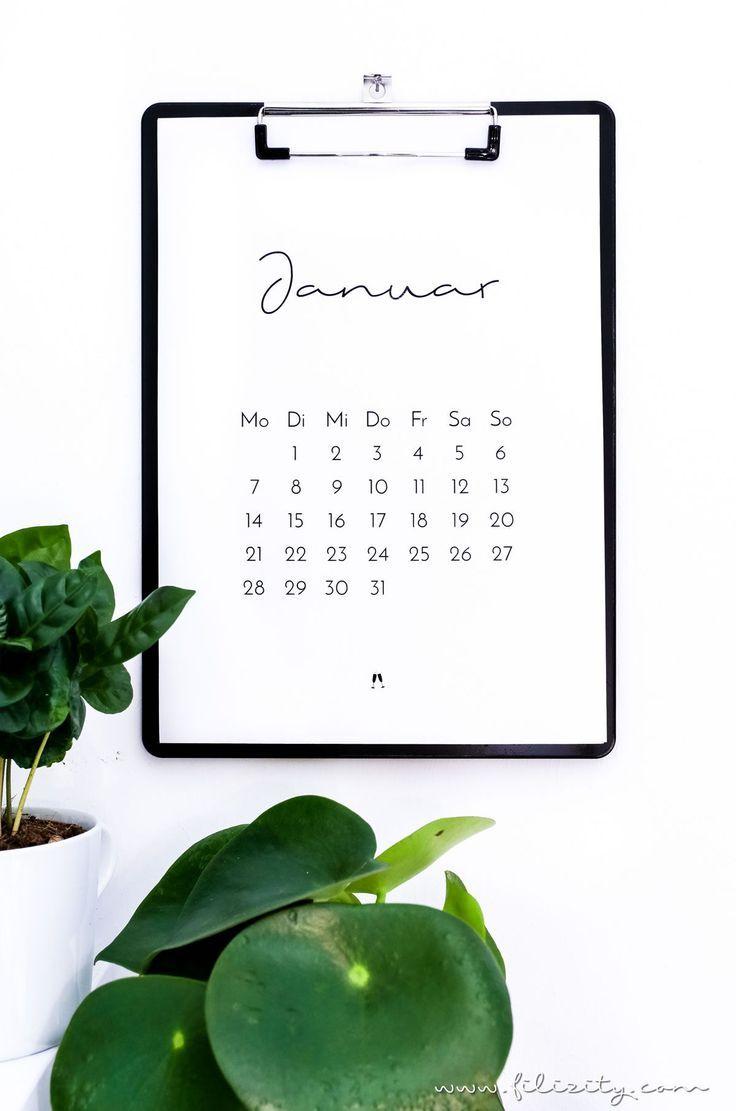 druckvorlage minimalistischer kalender 2019 diy. Black Bedroom Furniture Sets. Home Design Ideas