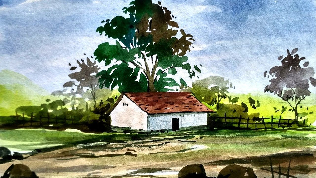 Simple watercolor landscape painting watercolor painting for beginners