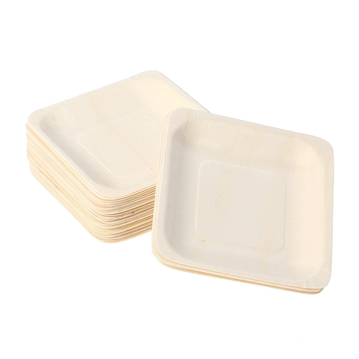 50pcs Square Disposable Wooden Party Plates In 2019 Products