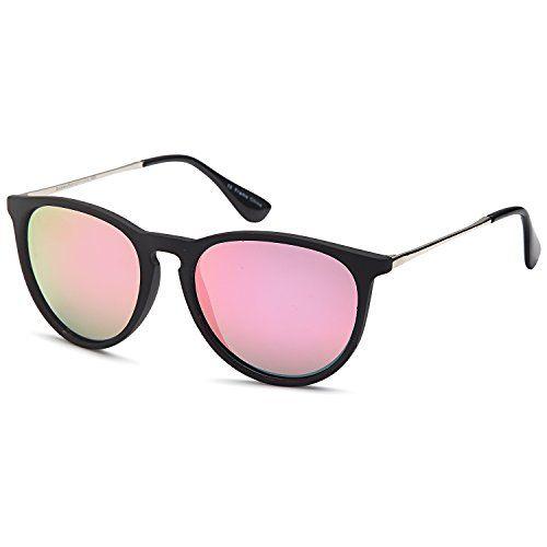7ae72925ef6 GAMMA RAY Polarized UV400 Vintage Retro Round Thin Style Sunglasses -  Mirror Pink Lens on Matte