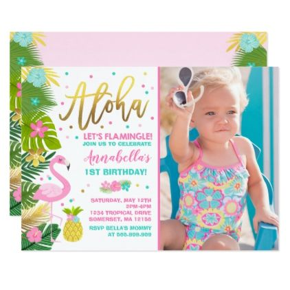 Flamingo Birthday Invitation Topical Luau Party invitations