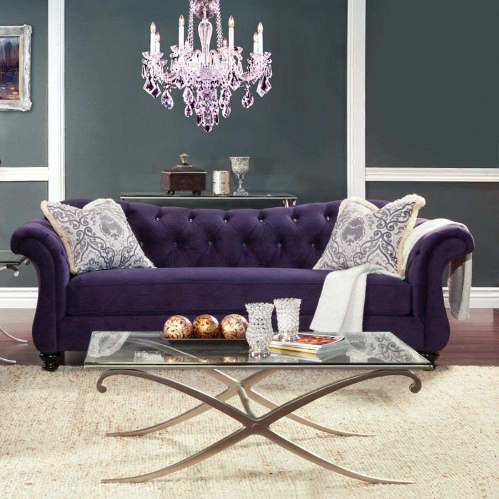 Furniture Of America Wellington Premium Fabric Sofa   Purple   For Elegant  Spaces, Only Royal