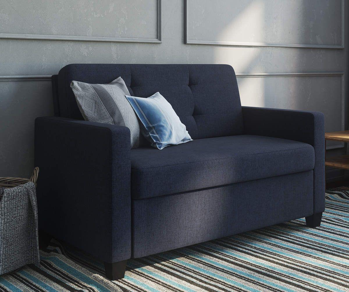 Ameriwood devon navy blue sleeper chair and a half big
