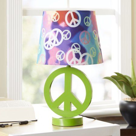 Your zone green peace sign table lamp with rainbow peace shade your zone green peace sign table lamp with rainbow peace shade aloadofball Gallery