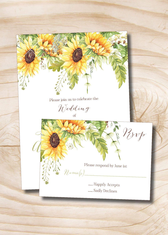Summer Sunflower Wedding Invitation / Response Card Invitation Suite ...