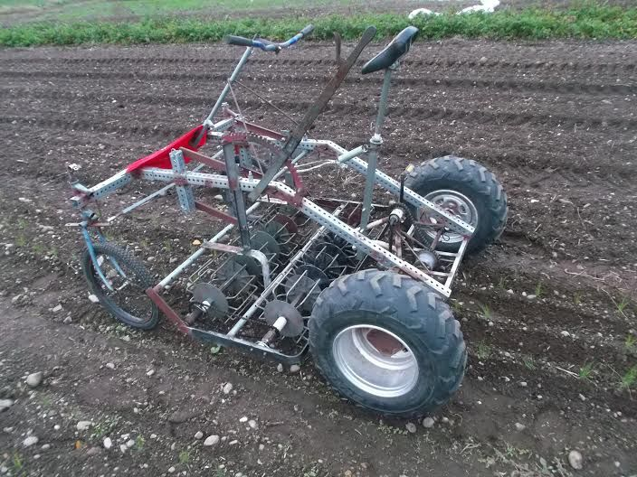 The Culticycle is a pedal powered tractor that can cultivate, seed