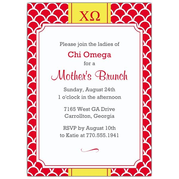Chi Omega Scale Frame Invitations Chi O Invitations Sorority - Formal Invitation