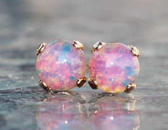 63eff21dd NEW Pink Fire Opal Studs Vintage Glass Fire by hangingbyathread1 ...