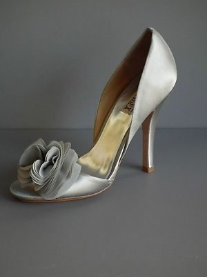 a75473b51e4b Badgley mischka gray randall satin wedding pumps shoes 10