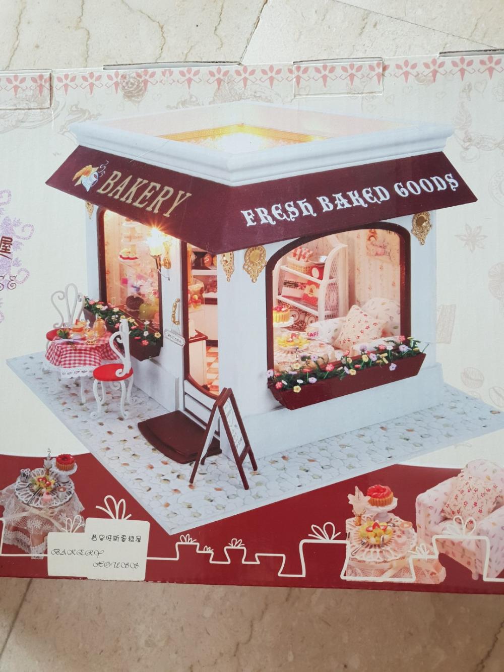 DIY Bakery Cafe Miniature Doll House Model Craft Kit Toy