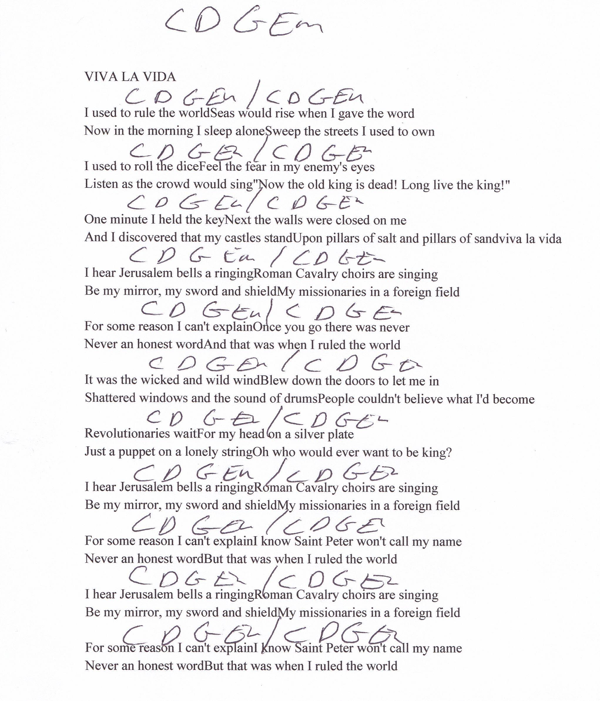 Viva La Vida (Coldplay) Guitar Chord Chart