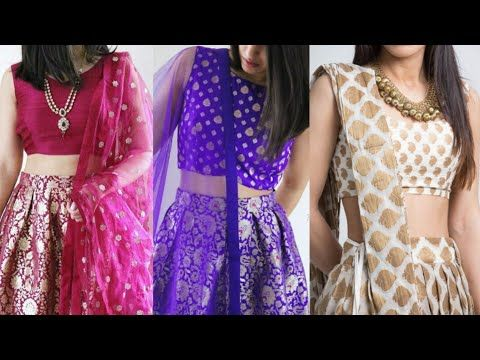 0e3961705401d0 Brocade Indo Western lehenga design ideas brocade fabric crop top lehenga  design ideas - YouTube